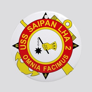 US Navy USS Saipan LHA 2 Round Ornament