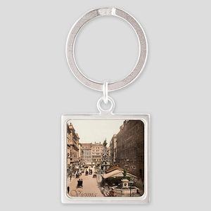 Vintage Vienna Square Keychain
