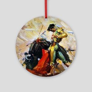 Vintage Bullfighting Round Ornament