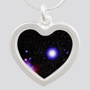 Optical image of the stars o Silver Heart Necklace
