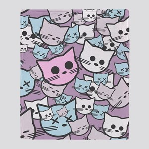 Funny Cat Faces Throw Blanket