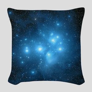Pleiades star cluster Woven Throw Pillow