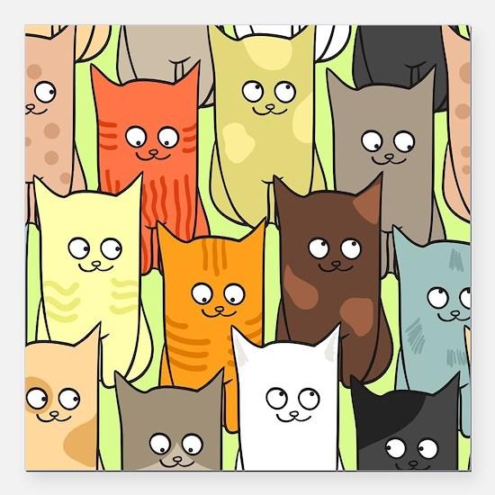 "Cute Cats Square Car Magnet 3"" x 3"""