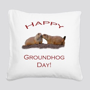Groundhog Day Kiss Square Canvas Pillow