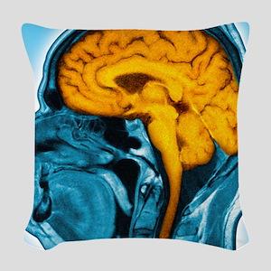 Normal brain, MRI scan Woven Throw Pillow