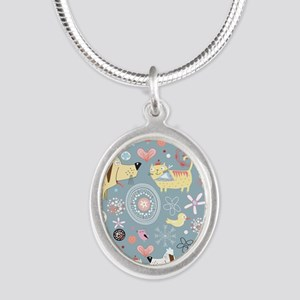Dogs and Cats Silver Oval Necklace