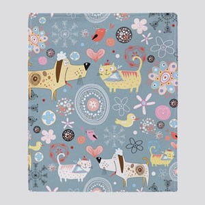 Dogs and Cats Throw Blanket