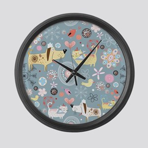 Dogs and Cats Large Wall Clock
