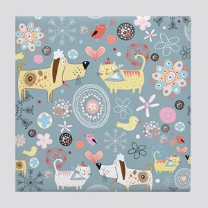 Dogs and Cats Tile Coaster