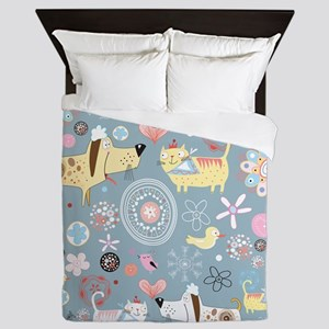 Dogs and Cats Queen Duvet