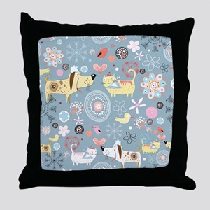 Dogs and Cats Throw Pillow