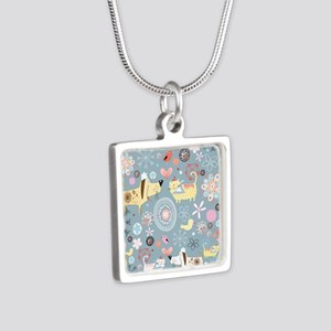 Dogs and Cats Silver Square Necklace