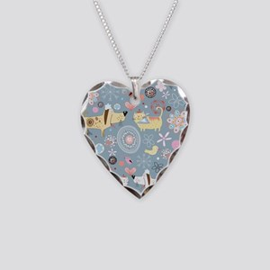 Dogs and Cats Necklace Heart Charm