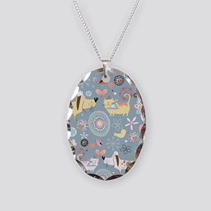 Dogs and Cats Necklace Oval Charm