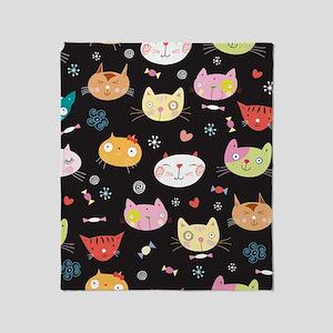 Crazy Cat Faces Throw Blanket