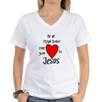 Jesus Heart Women's V-Neck T-Shirt