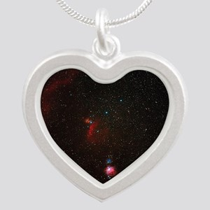 Orion constellation Silver Heart Necklace