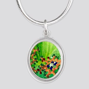 Chlorophyll molecule Silver Oval Necklace
