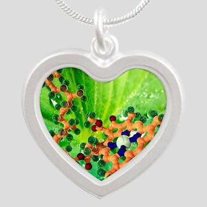 Chlorophyll molecule Silver Heart Necklace