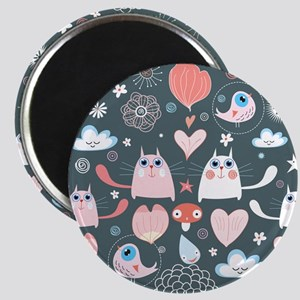 Cute Cats and Birds Magnet