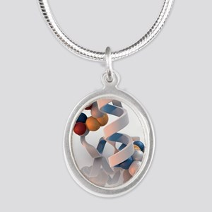 Insulin molecule Silver Oval Necklace