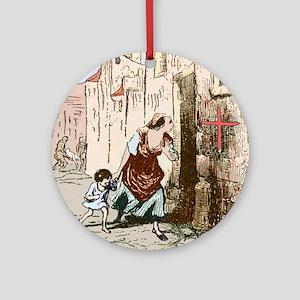 Plague quarantine, England, 16th ce Round Ornament