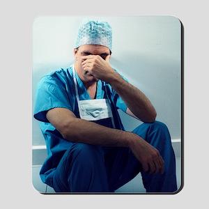 Tired surgeon Mousepad
