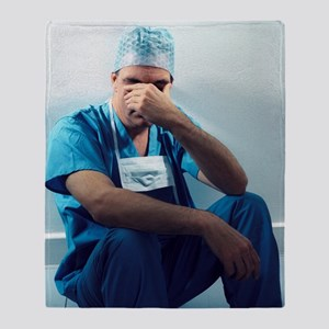 Tired surgeon Throw Blanket