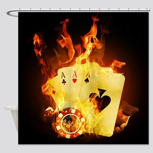 Burning Poker Cards Shower Curtain