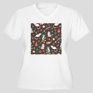 Christmas Cats Women's Plus Size V-Neck T-Shirt