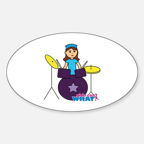 Drummer Girl Purple and Blue Sticker (Oval)