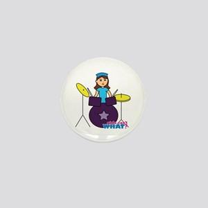 Drummer Girl Purple and Blue Mini Button