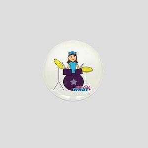 Drummer Girl Purple and Blue Mini Button