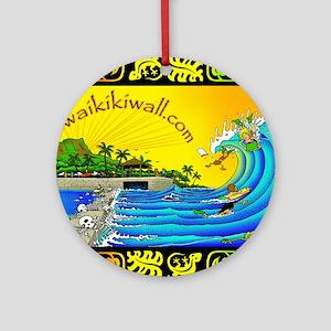 waikiki wall Round Ornament