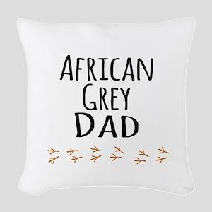 African Grey Dad Woven Throw Pillow