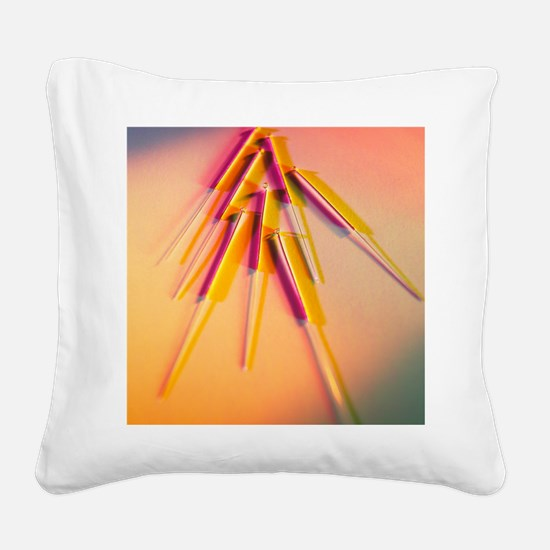 View of several acupuncture n Square Canvas Pillow