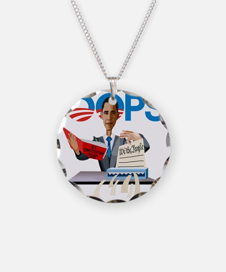 Obama at Work Necklace Circle Charm