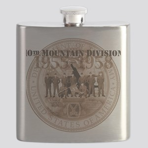 10th Mountain Division Plain background Flask