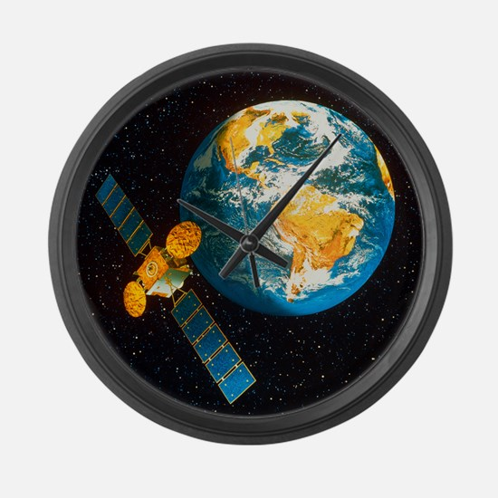 Artwork of a communication satell Large Wall Clock