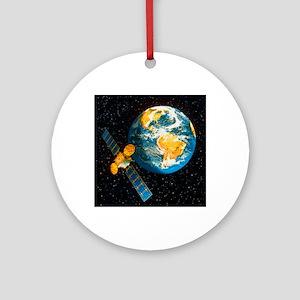 Artwork of a communication satellit Round Ornament