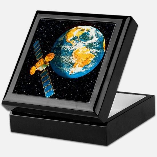 Artwork of a communication satellite  Keepsake Box