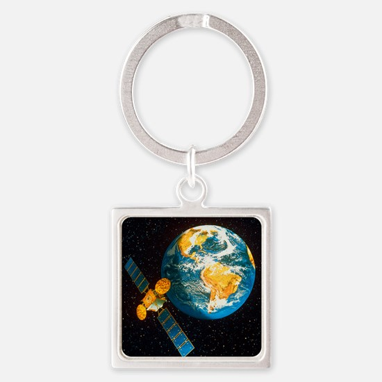 Artwork of a communication satelli Square Keychain