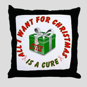 Pink Ribbon Ornament Throw Pillow