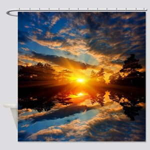 Sunset over Lake Shower Curtain