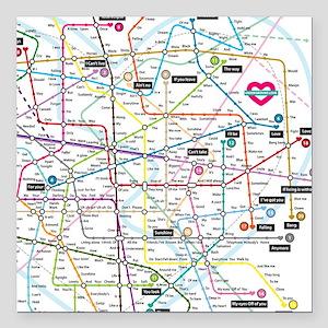 "Love map Square Car Magnet 3"" x 3"""