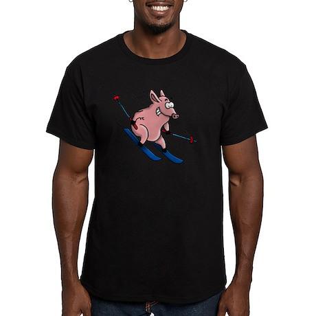skiing pig Men's Fitted T-Shirt (dark)