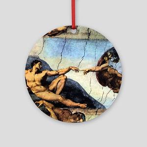Michelangelo Creation Of Adam Round Ornament