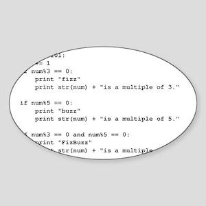 fizz-buzz-python-tshirt Sticker (Oval)