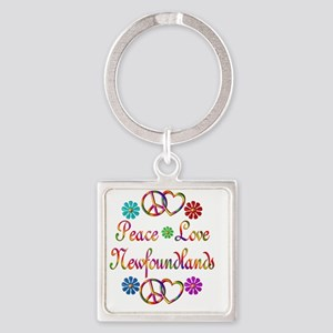 Peace Love Newfoundlands Square Keychain
