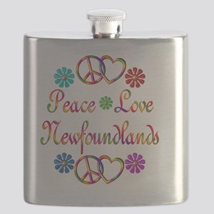 Peace Love Newfoundlands Flask